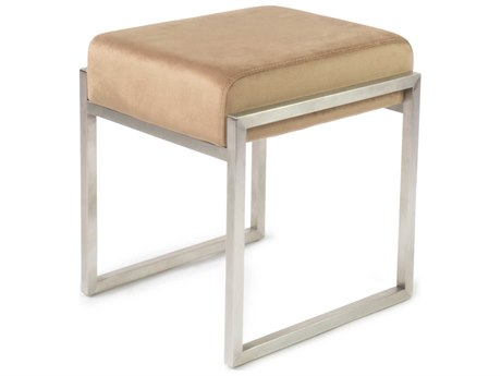 ION Design Scranton Velvet Peach / Brushed Stainless Steel Accent Stool