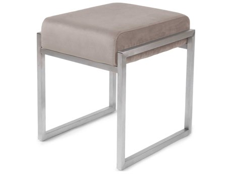 ION Design Scranton Velvet Blush / Brushed Stainless Steel Accent Stool