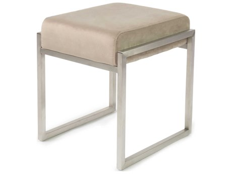 ION Design Scranton Velvet White / Brushed Stainless Steel Accent Stool