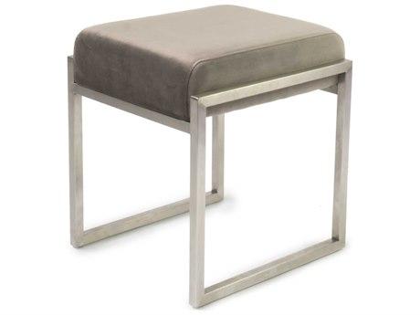 ION Design Scranton Velvet Grey / Brushed Stainless Steel Accent Stool