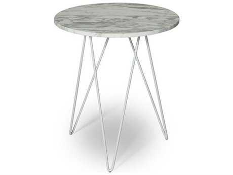 ION Design Solo Marble Top 18'' Round End Table with White Metal Base IDP19626