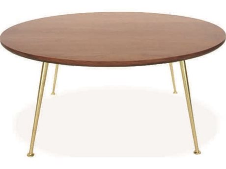 ION Design Thora Walnut / Matte Gold 35'' Wide Round Coffee Table IDP26139