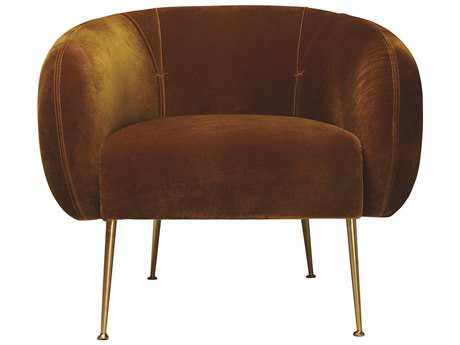 ION Design Turku Lounge Chair (Mustard 030 Fabric & Metal Legs with Brass Finish) IDP23440