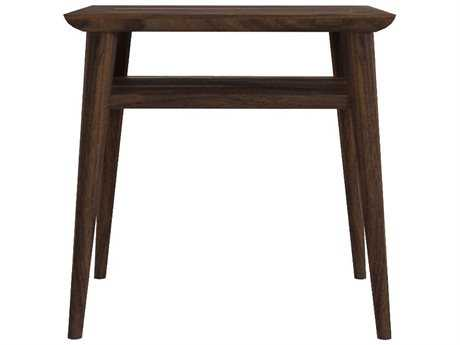 ION Design Vintage Black Walnut 18'' x 14'' Rectangular Bedside Table with Natural Wax Finish IDP13524