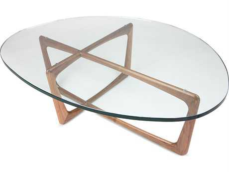 ION Design Vlad Walnut 48'' x 38'' Oval Coffee Table with Glass Top IDP13084