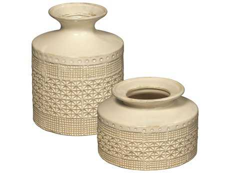 Jamie Young Company Astral White Ceramic Vases (Set of 2) JYC7ASTRVAWH