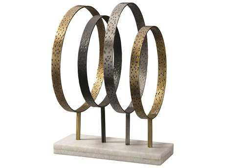 Jamie Young Company Athena Brass  Silver  Gun Metal  & Marble Sculpture JYC7ATHEIRON