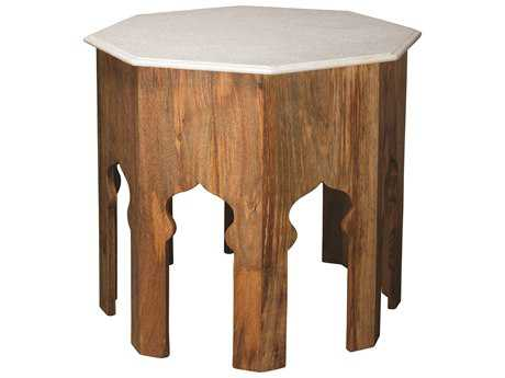 Jamie Young Company Atlas 28.5'' Octagon Natural Wood Large Table with White Marble Top JYC20ATLALGWH