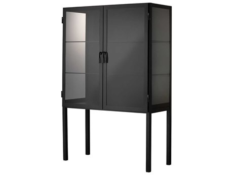 Jamie Young Company Black Iron & Clear Glass Bar Cabinet JYC20CHAUCABBK