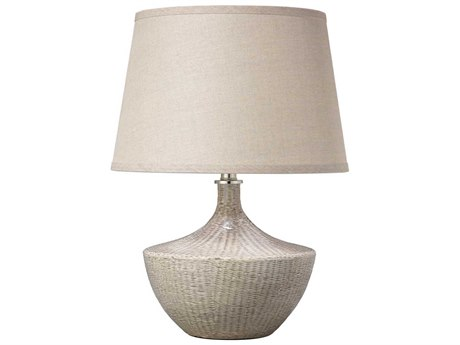 Jamie Young Company Basketweave Off White Ceramic Table Lamp JYC9BASKWHC255M