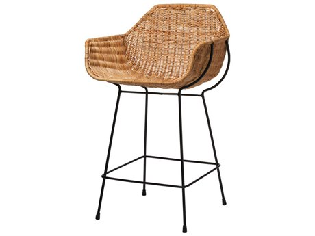 Jamie Young Company Natural Rattan & Black Steel Arm Counter Height Stool JYC20NUSACSNA
