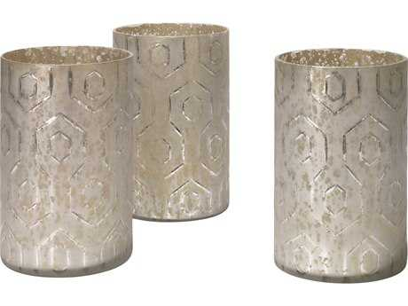 Jamie Young Company Deco Etched Mercury Glass Hurricanes (Set of 3) JYC7DECOSMMG