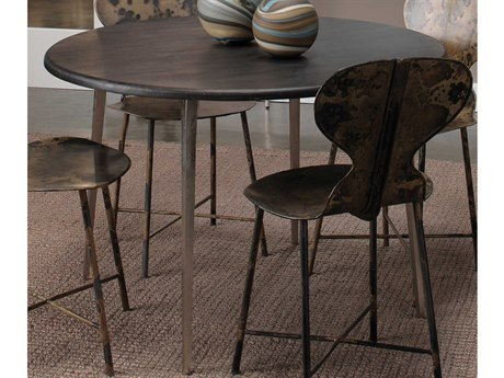 Jamie Young Company Farmhouse Dark Wood / Antique Silver Legs 45'' Wide Round Dining Table