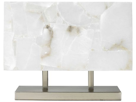 Jamie Young Company Ghost Horizon Alabaster & Antique Silver Two-Light Table Lamp JYC1GHHOTLAS