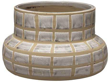 Jamie Young Company Grid Grey Ceramic Vase JYC7GRIDVAGR