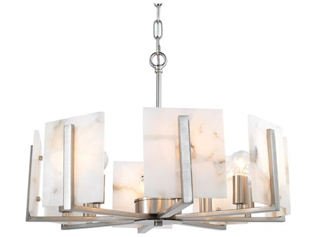 Jamie Young Company Halo Antique Silver & Alabaster 21'' Wide Eight-Light Mini-Chandelier