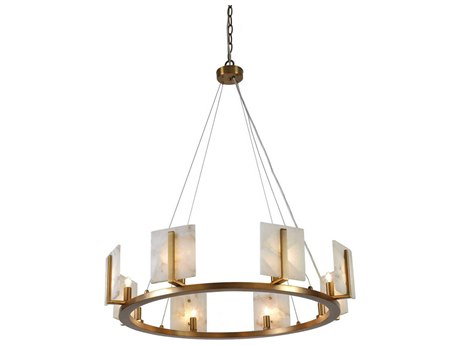 Jamie Young Company Halo Antique Brass & Alabaster 33'' Wide Eight-Light Pendant