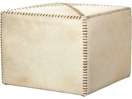 Jamie Young Company Large White Hide Ottoman JYC20OTTOLGWH
