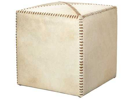 Jamie Young Company Small White Hide Ottoman JYC20OTTOSMWH