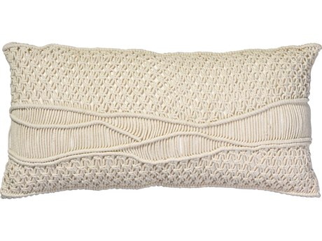 Jamie Young Company Indio Cream Macrame 28''W x 14''H Pillow JYCPILL14INDCR