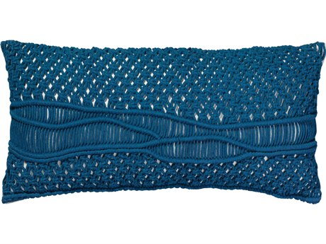 Jamie Young Company Indio Navy Macrame 28''W x 14''H Pillow JYCPILL14INDNV