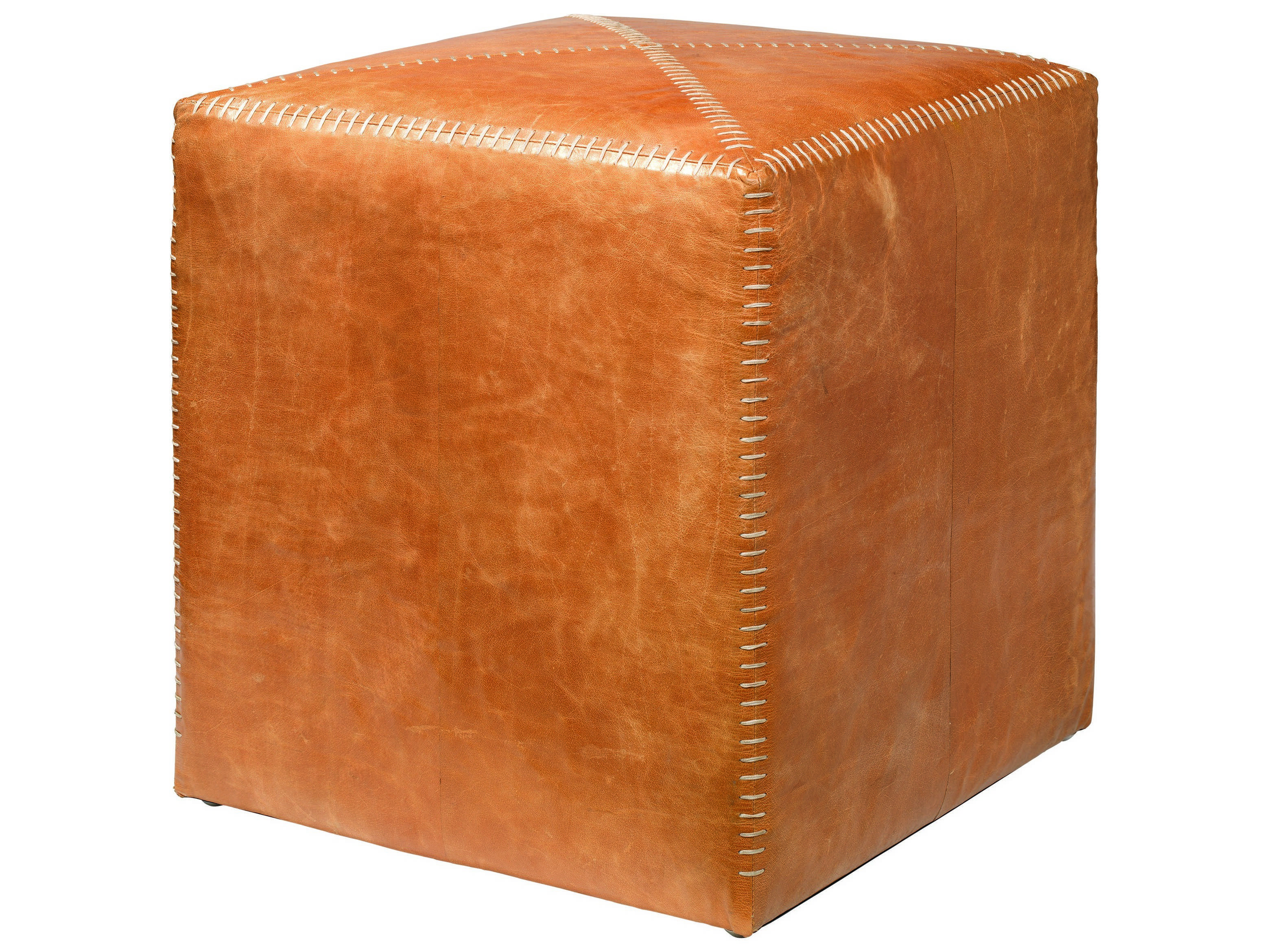 jamie young company small buff leather ottoman