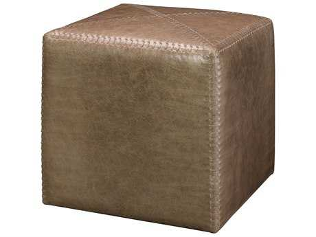 Jamie Young Company Cubed 16'' Taupe Leather Ottoman JYC20OTTOSMTA