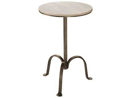 Jamie Young Company Left Bank 14.5'' Round Gun Metal Pedestal Table JYC20MARBTLGM