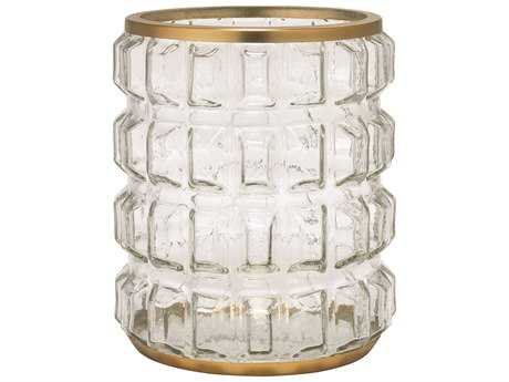 Jamie Young Company Madison Clear Glass & Antique Brass Hurricane Candle Holder JYC7MADIHUAB