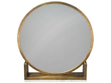 Jamie Young Company Odyssey Antique Brass & Marble 24'' Round Dresser Mirror