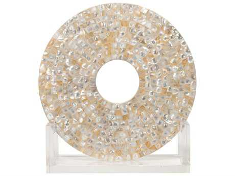 Jamie Young Company Odyssey Mother of Pearl & Acrylic Medium Disk Sculpture JYC7ODYSMDMOP