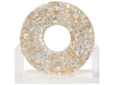 Jamie Young Company Odyssey Mother of Pearl & Acrylic Small Disk Sculpture JYC7ODYSSMMOP