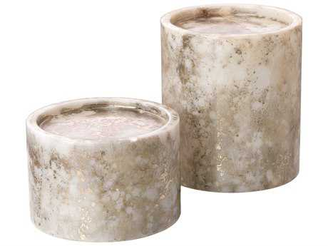 Jamie Young Company Orion Silver & Gold Cylindrical Candle Holders (Set  of 2) JYC7ORIOCNSG