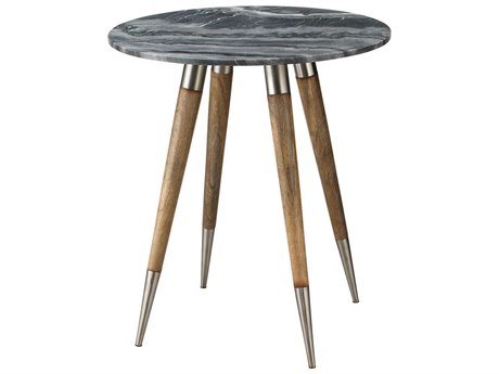 Jamie Young Company Owen Grey Marble & Natural Wood 24'' Round Side Table JYC20OWENLGGR