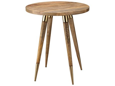 Jamie Young Company Owen Antique Brass & Natural Wood 24'' Round Side Table