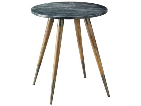 Jamie Young Company Owen Grey Marble & Natural Wood 19'' Round Side Table JYC20OWENSTGR