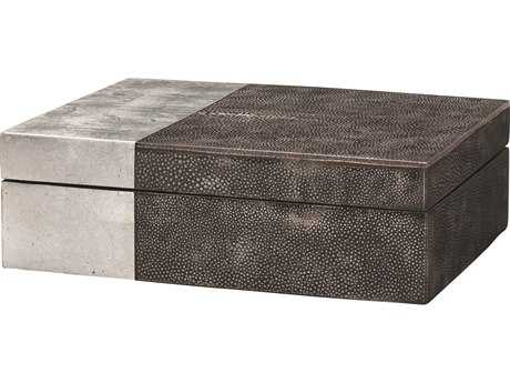 Jamie Young Company Raymond Black Faux Shagreen & Silver Leaf Box JYC7RAYMBOBK