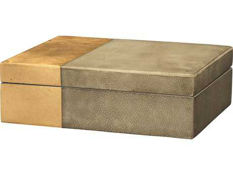 Jamie Young Company Raymond Grey Faux Shagreen & Gold Leaf Box JYC7RAYMBOGR