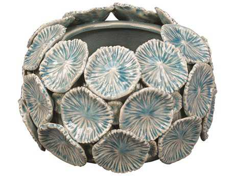 Jamie Young Company Reef Blue Ceramic Floral Bowl JYC7REEFBOBL