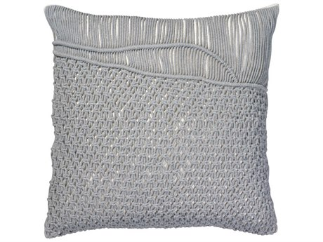 Jamie Young Company Saguaro Grey Macrame 24''W x 24''H Pillow JYCPILL24SAGGR