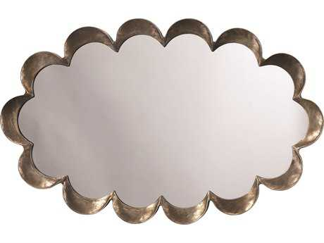 Jamie Young Company Scalloped Antique Silver 23''W x 36''H Oval Wall Mirror