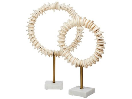 Jamie Young Company Cream Resin & Antique Brass Rod / White Marble Base Sculpture JYC7ARENCREAM