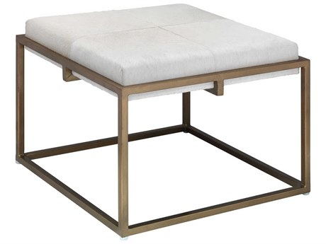 Jamie Young Company Shelby White Hide & Antique Brass Large Accent Stool JYC20SHELLGWH