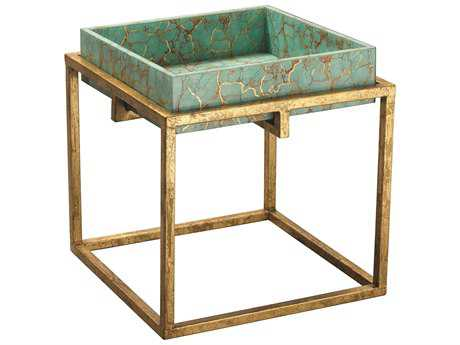 Jamie Young Company Shelby Turquoise Pebble & Gold Leaf Frame 18'' Square End Table