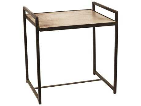 Jamie Young Company Steel Vellum 23.5'' x 22'' Rectangular Large Gun Metal Side Table JYC20STEELGGM
