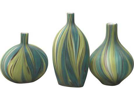 Jamie Young Company Stream Green & Blue Striped Glass Vessels (Set of 3) JYC7STREVAGB