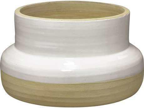 Jamie Young Company Sundial Handcrafted White & Natural Ceramic Vase JYC7SUNDVAWH
