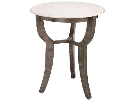Jamie Young Company Villa 24'' Round White Marble Side Table JYC20VILLSTWH
