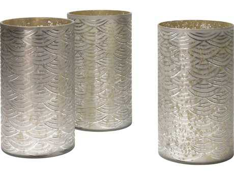 Jamie Young Company Wave Etched Mercury Glass Hurricanes (Set of 3) JYC7WAVESMMG