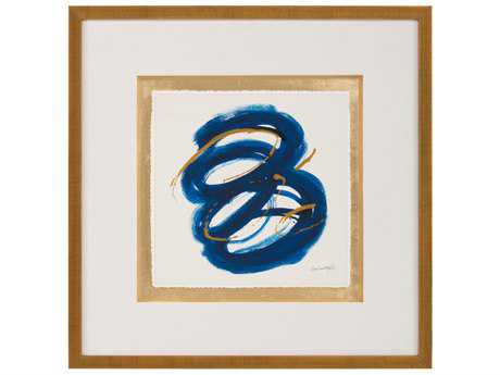 John Richard Abstract Dyann Gunter's Blue & Gold III Wall Painting JRGBG1055C